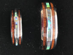 HappyLaulea Pair of Tungsten Carbide Couple/Wedding Ring Set with Abalone Shell and Hawaiian Koa Wood Tri Inlay - 6&8mm, Dome Shape, Comfort Fitment Review