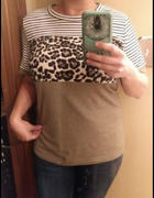 mytopsquare.com Leopard Print Striped Short Sleeve T-shirt Review