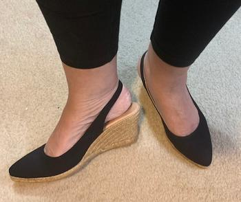 VISCATA Palomera Canvas Slingback Buckle Wedges - Black Review