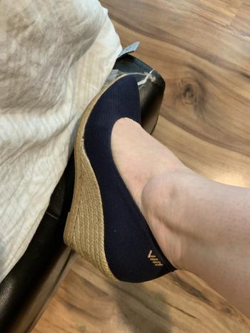 VISCATA Roses Canvas Wedges- Navy Review