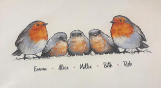 Pawprint Illustration Your Robin Family! Robin Family Custom Names Print | Nursery Wall Art Review