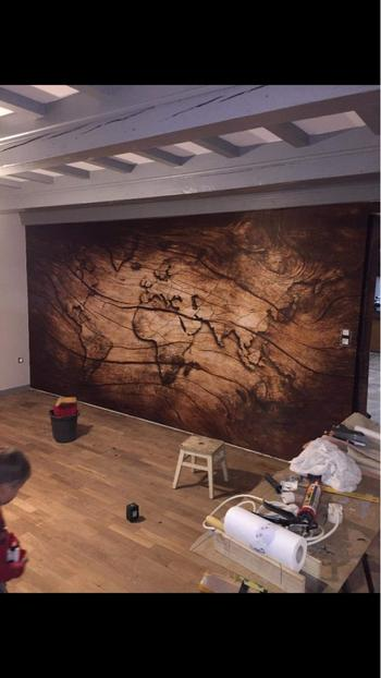 Kitchen Groups 3D Worldmap Vintage Wood Grain Wallpaper Sticker Review