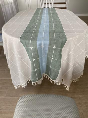 Kitchen Groups Creative Plaid Decorative Linen Tablecloth With Tassel Review