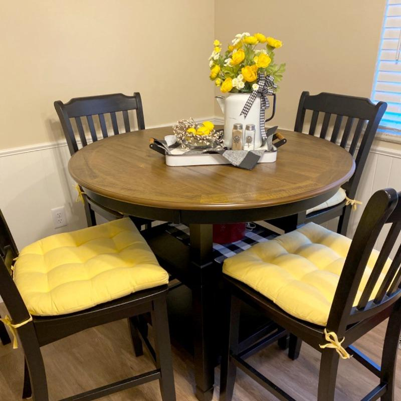 Yellow Solid Color Dining Chair Pads