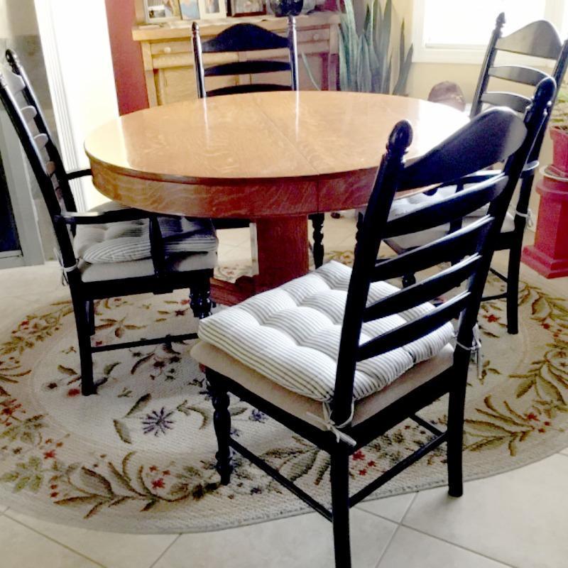 Ticking Stripe Black Dining Chair Pad - Reversible, Latex ...