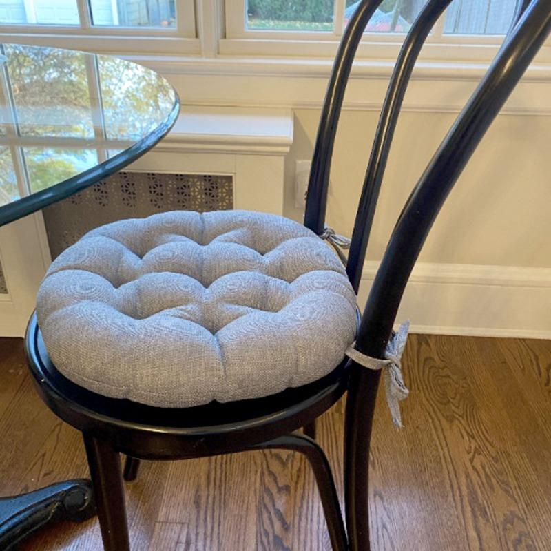 Rave Graphite Grey Bistro Chair Pad, Round Lounge Chair Cushions