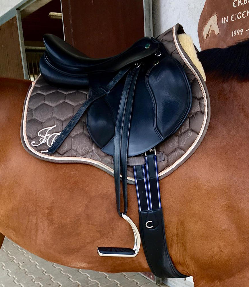 """Horse Riding Saddle Set 17,5/"""" Real leather Black 12 cm 5-in-1"""