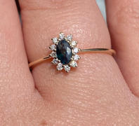 local eclectic 14kt Teal Sapphire & Diamond Fleurette Ring Review