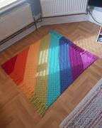 Deramores Rainbow Stripes Blanket by Kate Rowell in Stylecraft Special Aran Review