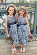 Princessly Gray Lace Rosette Keyhole Back Flower Girl Dress Review