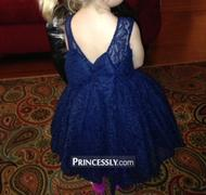 Princessly Navy Blue Lace Flower Girl Dress with V back and big bow Review