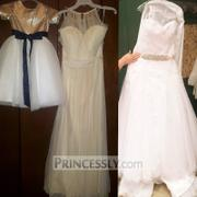Princessly Short Sleeves Mate Champagne Sequin Tulle Flower Girl Dress with Navy Blue Sash Review