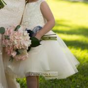 Princessly Champagne Satin Tulle Flower Girl Dress with Beaded Sash Review