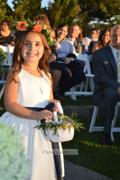 Princessly Ivory Satin Flower Girl Dress with Navy Blue Belt / Bow Review