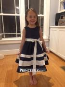 Princessly Navy Blue Satin Ivory Striped Flower Girl Dress Review