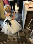 Princessly Navy Blue Lace Ivory Satin Organza Flower Girl Dress with Navy Sash Review