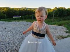 Princessly Thin Straps Champagne Sequin Tulle Flower Girl Dress with Navy Blue Belt Review
