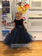 Princessly Navy Blue Velvet Tulle Cap Sleeve Wedding Flower Girl Dress with Champagne Sash\Bow Review