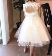 Princessly Ivory Lace Champagne Tulle Wedding Flower Girl Dress with Keyhole Back Review