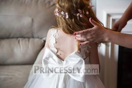Princessly Ivory Lace Tulle V Back Wedding Flower Girl Dress with Big Bow Review