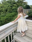 Princessly Ivory Lace Champagne tulle Cap Sleeves Wedding Flower Girl Dress with Beading Review