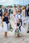 Princessly Navy Blue Chiffon Ivory Tulle Halter Neck Wedding Flower Girl Dress with Bow Review