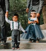 Princessly Ivory lace Silver Gray Tulle Wedding Flower Girl Dress with Navy Blue appliques\beads Review