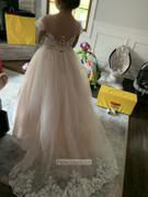 Princessly Lace Tulle V Back Cap Sleeves Floor Length Wedding Flower Girl Dress Review