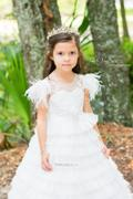 Princessly Ivory Tulle Cap Sleeves V Back Cupcake Wedding Flower Girl Dress with Train Review
