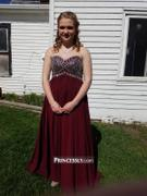 Princessly Strapless Sweetheart Wine Red Beaded Chiffon Long Prom Dress Review