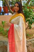 CHHAPA CHANDERI SAREE- Pujo with Red & Yellow Review