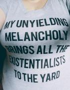 Boredwalk Women's My Unyielding Melancholy Brings All The Existentialists To The Yard Vneck T-Shirt Review