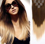 AmazingBeautyHair Clip in Hair Extension Ombre Black Blonde T#1C/#18 Review