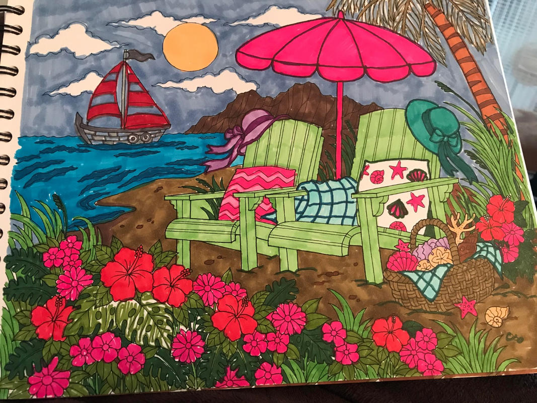 Tropical Scenes Coloring Book For Adults With Hardback ...