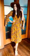 Number 9 Fashion Dark Mustard Yellow Angel Sleeve with Pink Bouquets Wrap Dress Review
