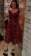 Number 9 Fashion Black & Red Cherry Scoop Neck Bow Tie Vintage Swing Dress Review