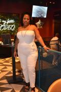 Curvy Sense Plus Size Strapless Gold Trim Jumpsuit - Ivory Review