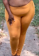 Curvy Sense Plus Size Active Side Pocket Legging - Mustard Review