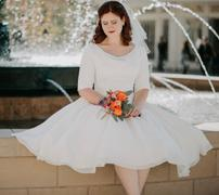 ieie Bridal Victorian Modest Chiffon Tea Length Wedding Dress with Short Sleeves | Raylene Review