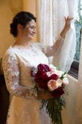 ieie Bridal Modest Blush Lace Wedding Dress with Long Sleeves | Charmine Review