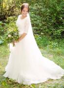 ieie Bridal Modest Princess Style French Lace Wedding Dress with Half Sleeves and Tulle Skirt | Hallie Review