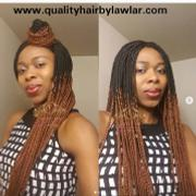 QualityHairByLawlar Box Braids Fully Hand Braided Ombre Lace Wig (#1/#30) Review