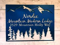Maker Table Personalized Metal Mountain Sign - Cabin, Tree House, Clubhouse Wall Art - Mountains, Pine Trees Review
