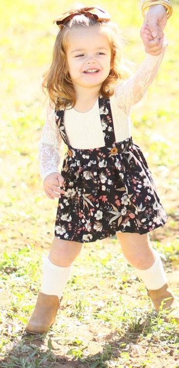 Bailey's Blossoms Daphne Pleated Suspender Skirt - Black Floral Review