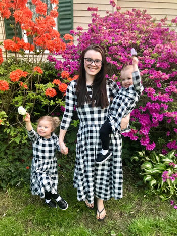 Bailey's Blossoms Harper Mommy & Me Dress - Black and White Plaid Review