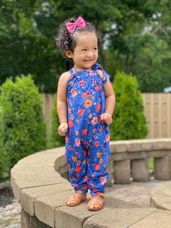 Bailey's Blossoms Katherine Tie Strap Bubble Jumpsuit - Royal Floral Review