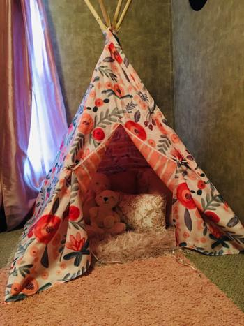 Bailey's Blossoms Reversible Teepee Tent - Floral/Coral Stripe Review