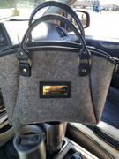Sword & Plough Grey Wool Handbag - Black Leather Review