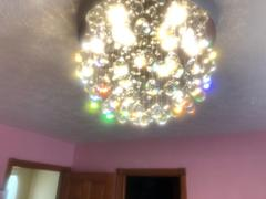 7PM Home Unique Flush Mount Crystal Chandelier Round Ceiling Light Review