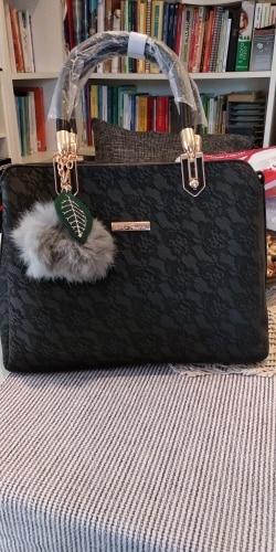 Bnb Leather Handbag With Pompom